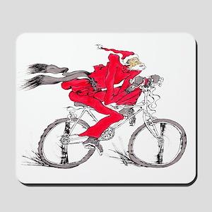santa on a bicycle Mousepad