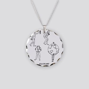 0100_geography_cartoon Necklace Circle Charm
