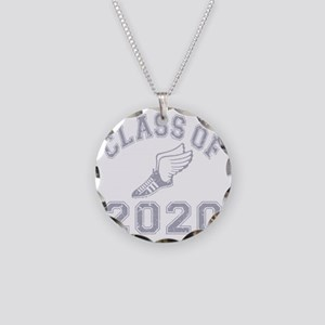 CO2020 Track Grey Distressed Necklace Circle Charm