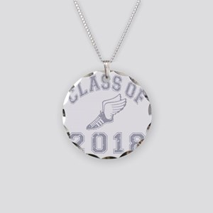 CO2018 Track Grey Distressed Necklace Circle Charm