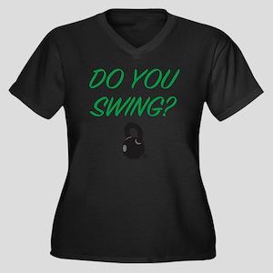 swing_girl Women's Plus Size Dark V-Neck T-Shirt