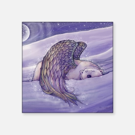 """magical winged bear square Square Sticker 3"""" x 3"""""""