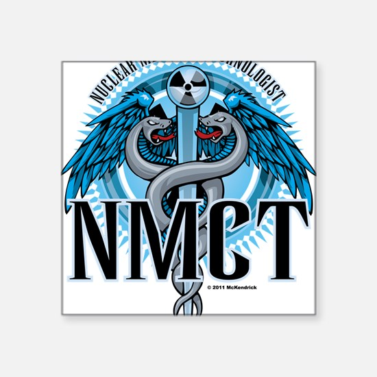 "NMCT-Caduceus-Blue Square Sticker 3"" x 3"""