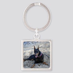 Paint dog in sand Square Keychain