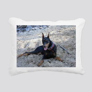 Paint dog in sand Rectangular Canvas Pillow