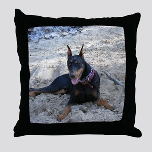 Paint dog in sand Throw Pillow