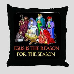 Christmas jesus is the reasond Throw Pillow