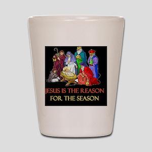 Christmas jesus is the reasond Shot Glass