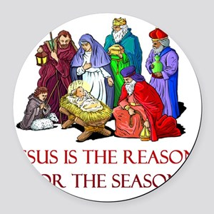 Christmas jesus is the reason Round Car Magnet