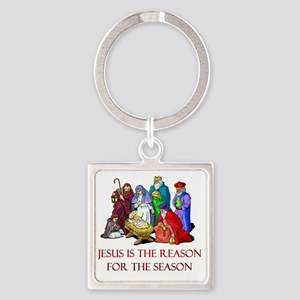 Christmas jesus is the reason Square Keychain