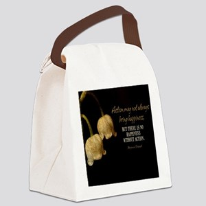 Happiness Quote Canvas Lunch Bag