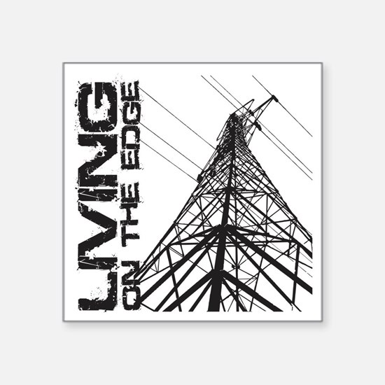 "transmission tower edge 1 Square Sticker 3"" x 3"""