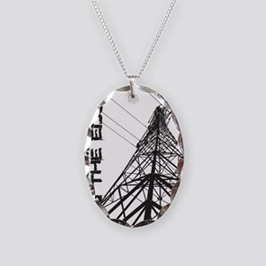 transmission tower edge 1 Necklace Oval Charm