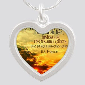 Perfecting Yourself Quote Silver Heart Necklace