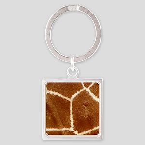 giraffeSkin_flipflop Square Keychain