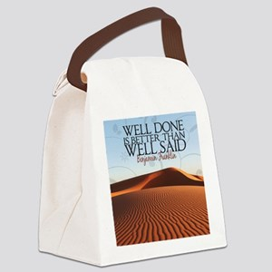 Well Done Quote Canvas Lunch Bag