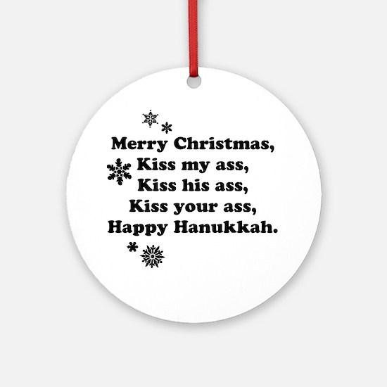 Merry-BKXmas Round Ornament