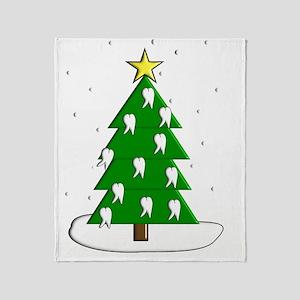Dentist tooth christmas tree NO BACK Throw Blanket