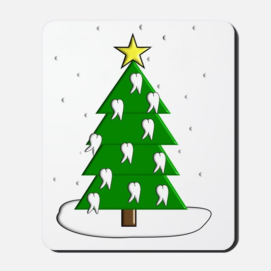 Dentist tooth christmas tree NO BACKGROU Mousepad