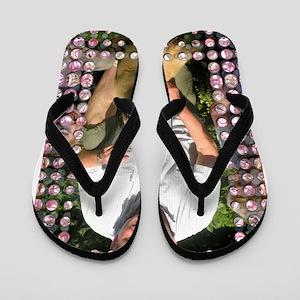 Personalizable Pink Bling Frame Flip Flops