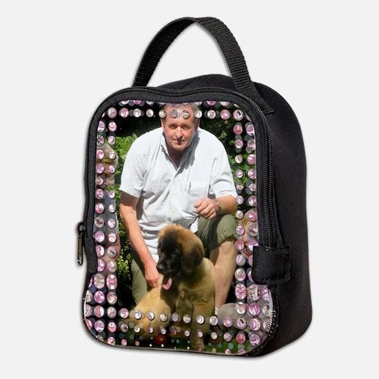 Personalizable Pink Bling Frame Neoprene Lunch Bag