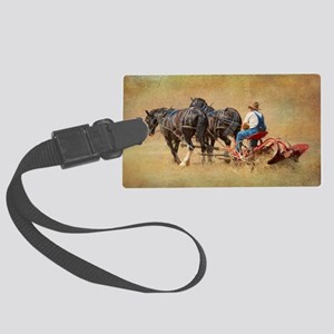 7x5card_Old_Time_plowing_red_plo Large Luggage Tag