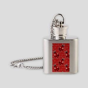 Ladybug Swirl iphone 4 Case Flask Necklace