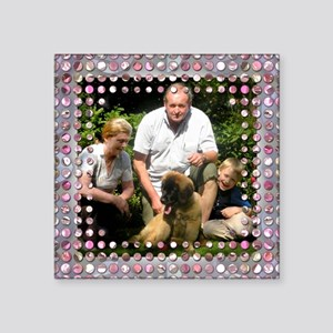 Personalizable Pink Bling Frame Square Sticker 3""