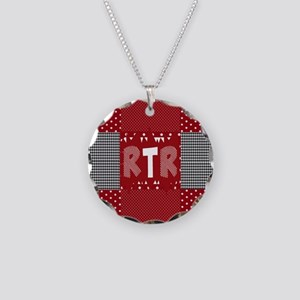 RTR houndstooth  Necklace Circle Charm