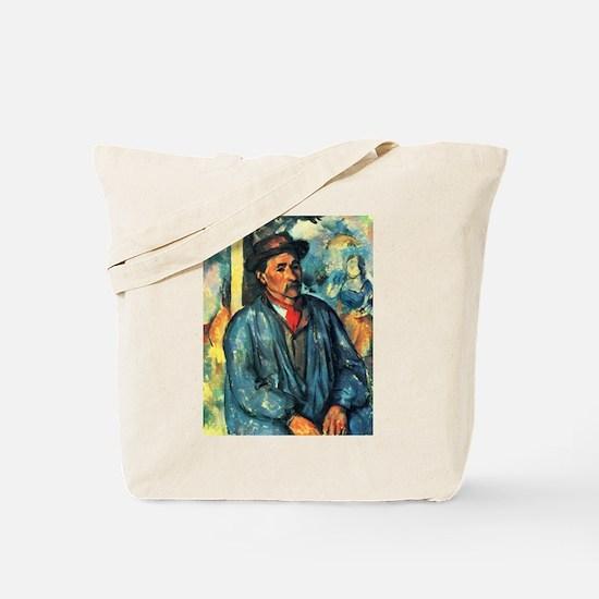 Man in a Blue Smock - Paul Cezanne - c1896 Tote Ba