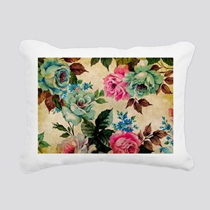 Bag Antique Floral Rectangular Canvas Pillow