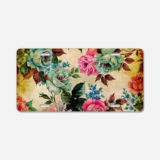 Bag Antique Floral Aluminum License Plate