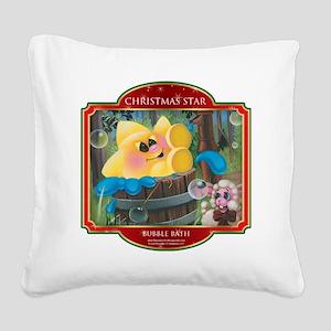Bubble Bath - Christmas Star Square Canvas Pillow