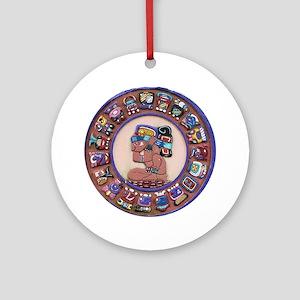 Mayan Calendar Stone Round Ornament