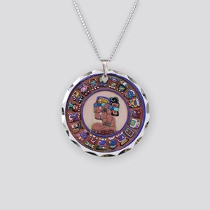 Mayan Calendar Stone Necklace Circle Charm
