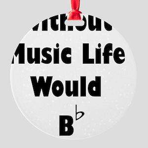 Music B Flat Black Round Ornament