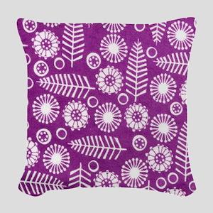 Folk Flowers copy Woven Throw Pillow