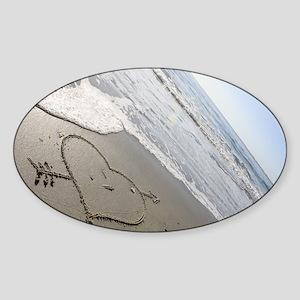 Beachwrites Heart Sticker (Oval)