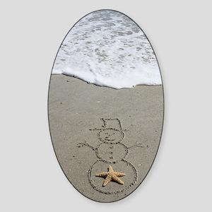 Beachwrites Snowman Sticker (Oval)
