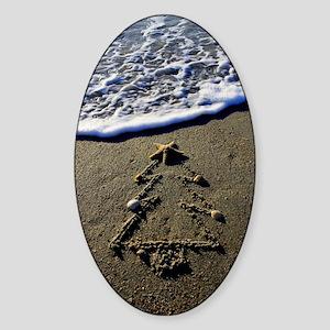 Beachwrites Christmas Tree Sticker (Oval)
