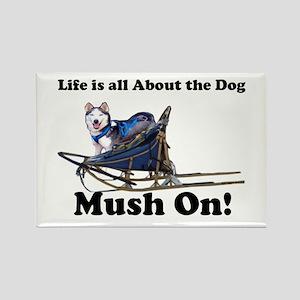 Siberian Husky Mush On! Rectangle Magnet