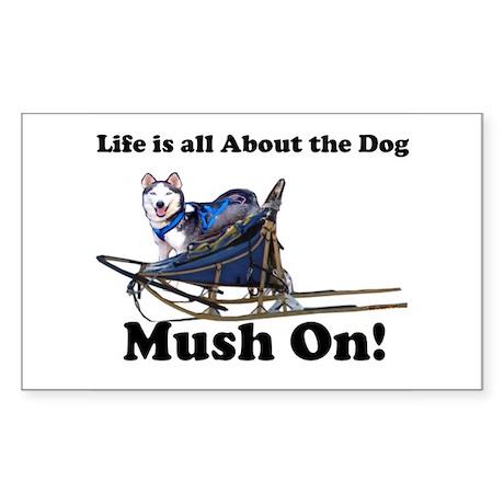 Siberian Husky Mush On! Rectangle Sticker