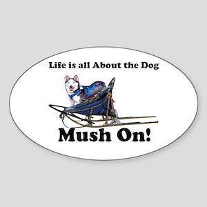 Siberian Husky Mush On! Oval Sticker