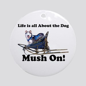 Siberian Husky Mush On! Ornament (Round)