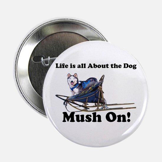 Siberian Husky Mush On! Button