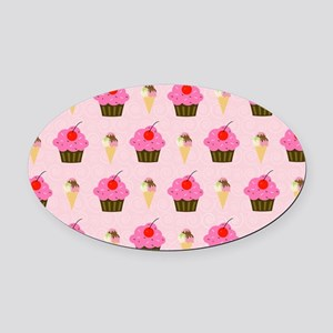 Cupcakes and Ice Cream Laptop Skin Oval Car Magnet