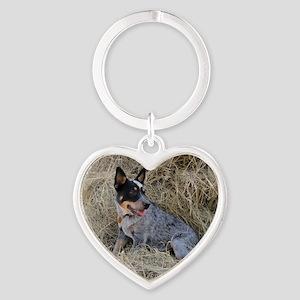 Australian Blue Heeler Pup Heart Keychain