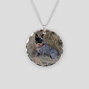 Australian Blue Heeler Pup Necklace Circle Charm