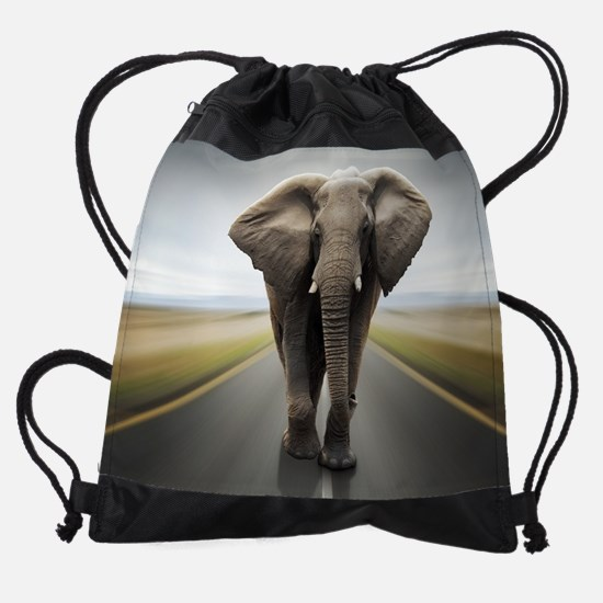 Elephant Trucker Drawstring Bag