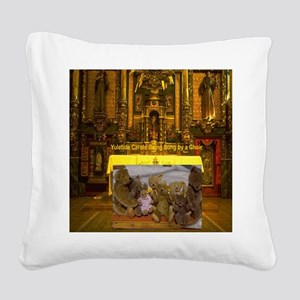 Yuletide Carols being sung by Square Canvas Pillow